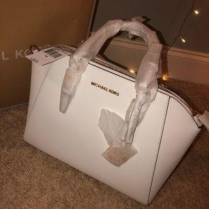 Michael Kors Large White Leather Handbag/Satchel